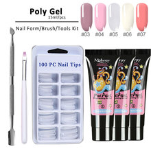 4pcs A Kit Poly Gel Nail Art Fast Uv Building For Nails Extensions Glue Makeup Bush Slip Solution Nail Hard Jelly Polygel Set