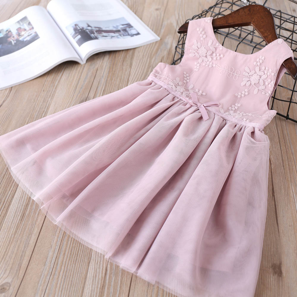 Hurave solid embroidery mesh button baby Girl clothes Summer sleeveless dress Kids Clothes crew neck Casual dresses