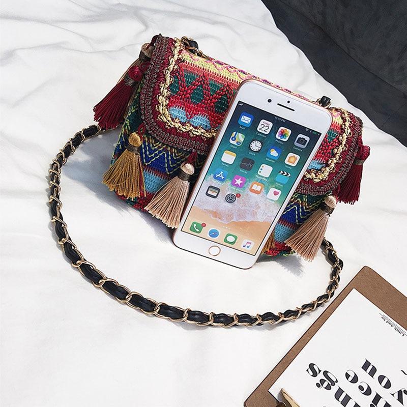 New Women Tassel Fashion Straw Bag INS Popular Female Summer Handbag Chains Lady Casual Shoulder Bag Beach Knit Crossbody SS3307 (8)