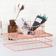 Nordic Style Copper Geometry Storage Baskets Box Simplicity Home Organizer for Jewelry Necklace Dessert Plate