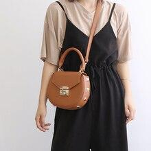 High Quality Crossbody Bags for Women PU Famous Designer Handbags Leather Shoulder Bag Rivet Lock Fashion Women Circular 2019 недорго, оригинальная цена