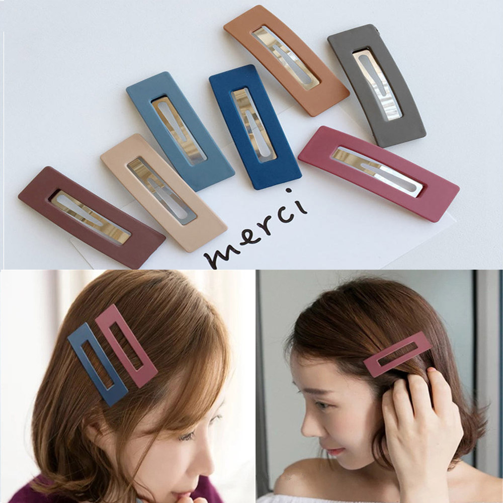 1pcs Solid Color Scrub Resin Hair Clips Geometric Hollow Square Hairpins New Fashion Hair Accessories For Women Girls Hot Sale