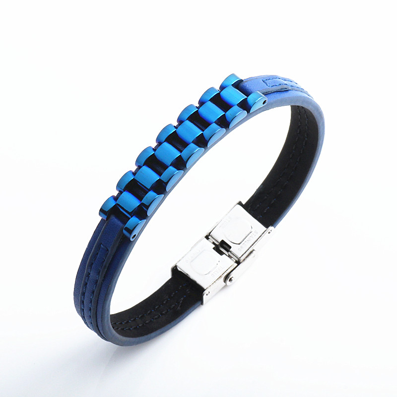 Again Jewel Fashion Men's Leather Bracelets With Stainless Steel  Bracelet Stainless Steel Bangle Jewelry Best Gift