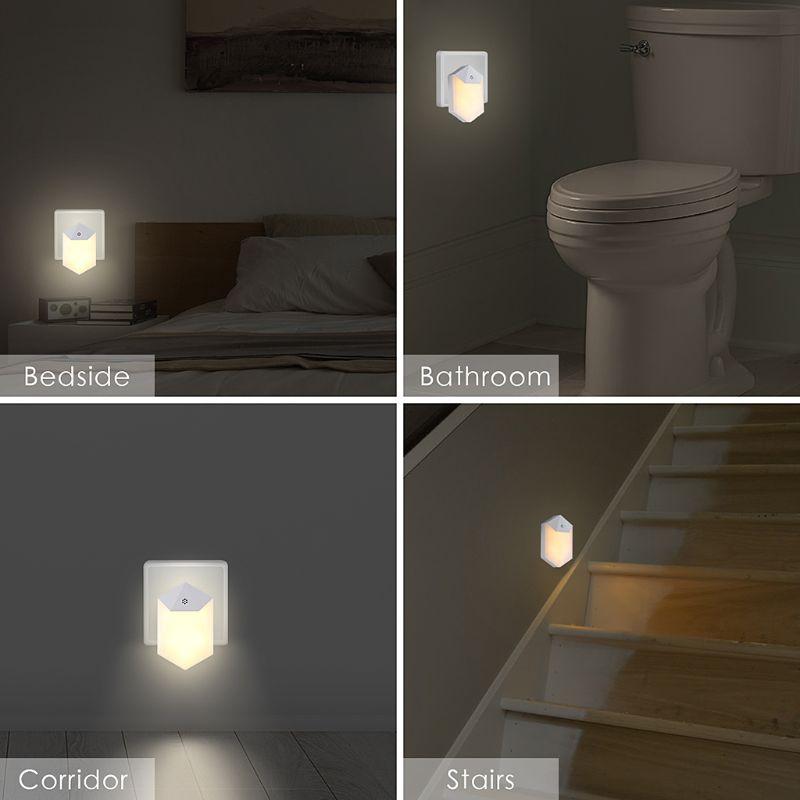 AC110v-240V Warm LED Night Light Room Decor Light-control Sensor Wall Socket Lamp Home Bedroom Decoration