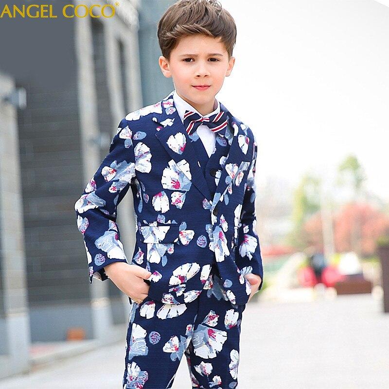 blazer + Pants + Weste + Shirts + Bowtie Boutique 5 Teile/satz Stattlichen Kleinkind Blume Jungen Hochzeit Zeigen/leistung Anzug Sets
