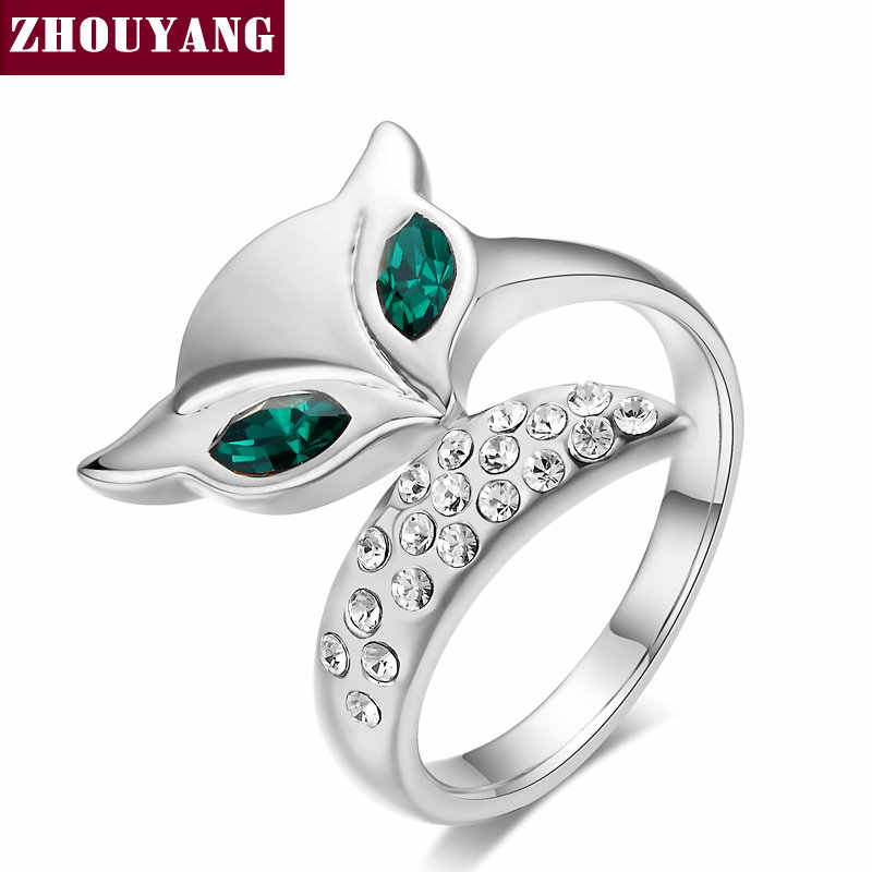 Top Quality ZYR195 Fox Crystal Ring Silver Color Austrian Crystals Full Sizes