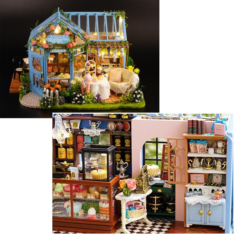 DIY Miniature Rose Garden Cake Shop Dollhouse Wooden Furniture LED Music Kits