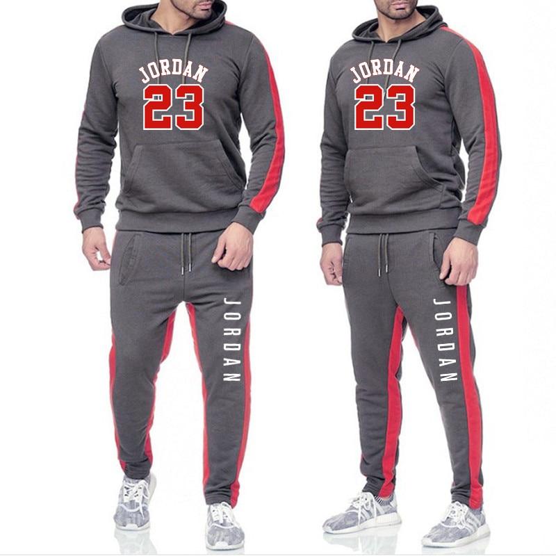 New 2019 Brand Tracksuit Fashion JORDAN 23 Men Sportswear Two Piece Sets All Cotton Fleece Thick Hoodie+Pants Sporting Suit Male