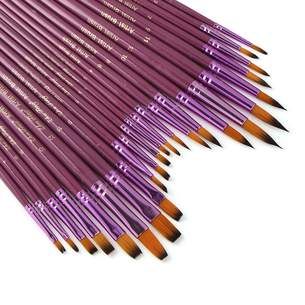 12pcs Purple Round Artist Brushes Art Craft for Watercolor Oil Painting