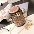 Nuevo paquete de las mujeres personalizadas creative tocón de árbol de inyección de tinta bolsa de dama cilindro cadena de hombro bolsas de mensajero bolso del teléfono monedero de la moneda