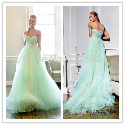 empire waistline slim aqua and peaches sequin deign tulle long train ...