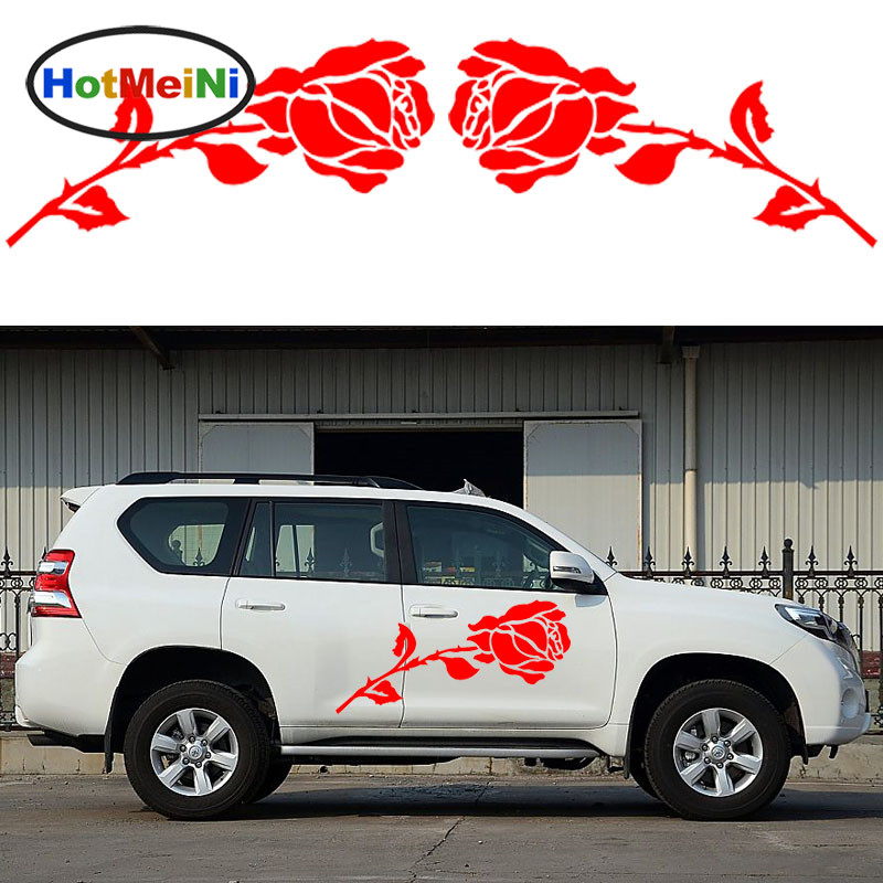 HotMeiNi 2x Romantic Rose Pattern Love Theme Car Sticker Caravan Travel Trailer Campervan SUV Kit Vinyl Decals Valentines Day