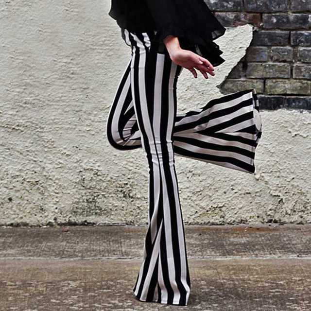 Women's Black and White Stripes Flare Leggings XS-L