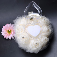 Satin Ring Pillow Cushion Wedding Decorations Chic Heart-shape Flowers Valentine's Day Gift Pincushion marriage Ring decor Mat(China)
