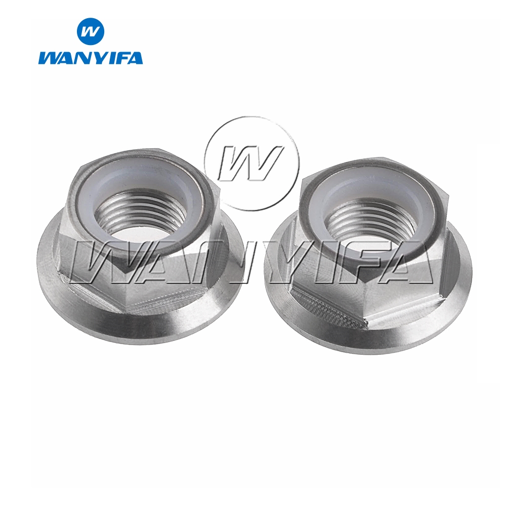 M6 x 1 Pitch Titanium Ti Hex Flange Nut Nylon Lock Fastener GR5 2//6//10pcs