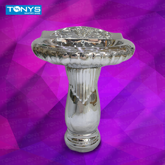 Bar Ktv personalized silver wash basin wash  Upscale bathroom ceramic basin washbowl Villa clubhouse silver pedestal basin