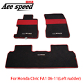 Velocidad as-Para Mugen tapetes Alfombra Del Coche Apto Para El Honda Civic FA1 06-11 timón Izquierdo FN2 07-11 RHD