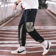 Spring New Overalls Men Fashion Contrast Color Casual Pants Multi-pocket Trousers Streetwear Hip-hop Loose Joggers Sweatpants