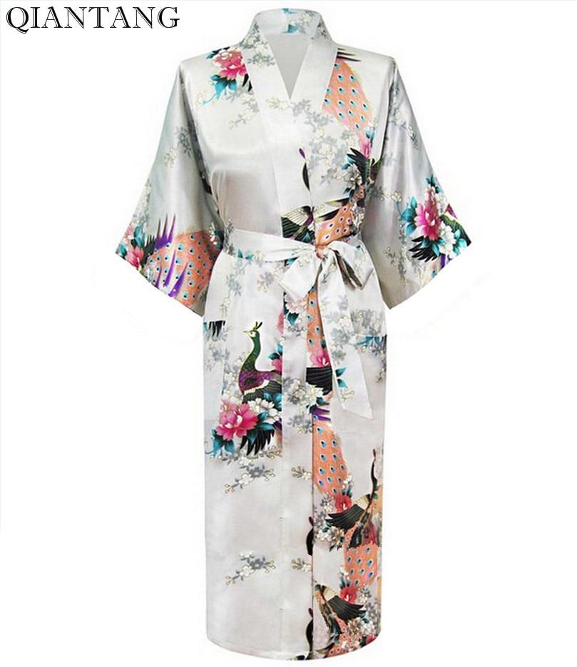 Weiße weibliche Faux Silk Robe Bademantel chinesische Art Damen Nachtwäsche Kimono Badekleid Größe S M L XL XXL XXXL Mujer Pijama S0032