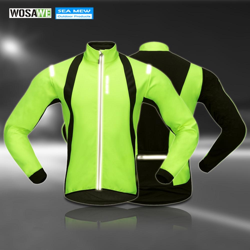 Cycling Learned Wosawe Reflective Jackets Mtb Winter Clothing Fleece Cycling Bike Breathable Green Windbreaker Windproof Waterproof Pockets