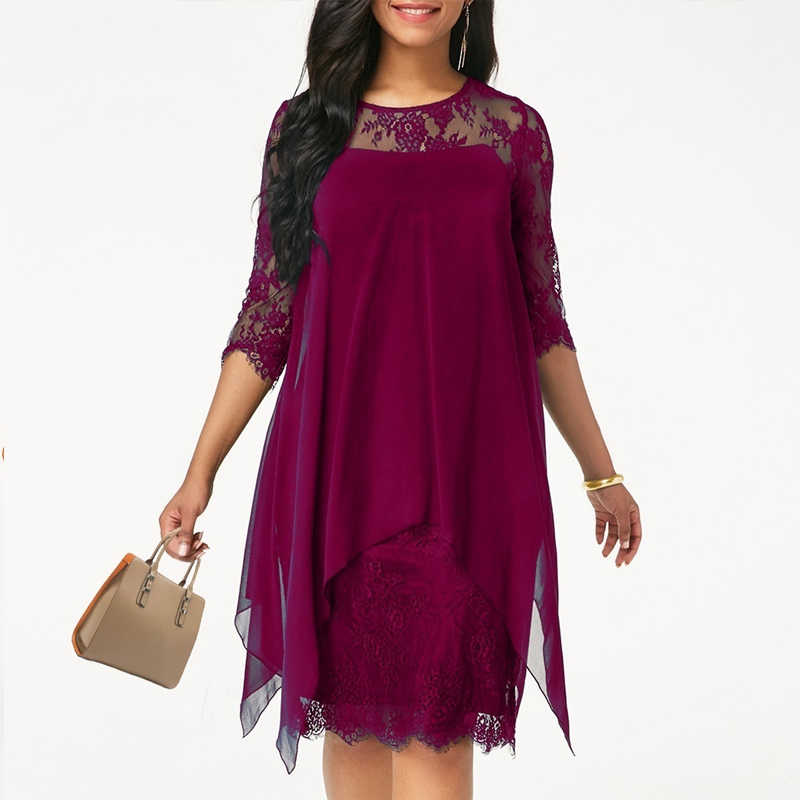 2019 Newest Women's Fashion Casual Loose Half Sleeve Elegant dress Round Neck Solid Color Big Size Lace dress 15 colors 2XS-5XL