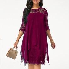2019 Newest Women's Fashion Casual Loose Half Sleeve Elegant dress Round Neck So