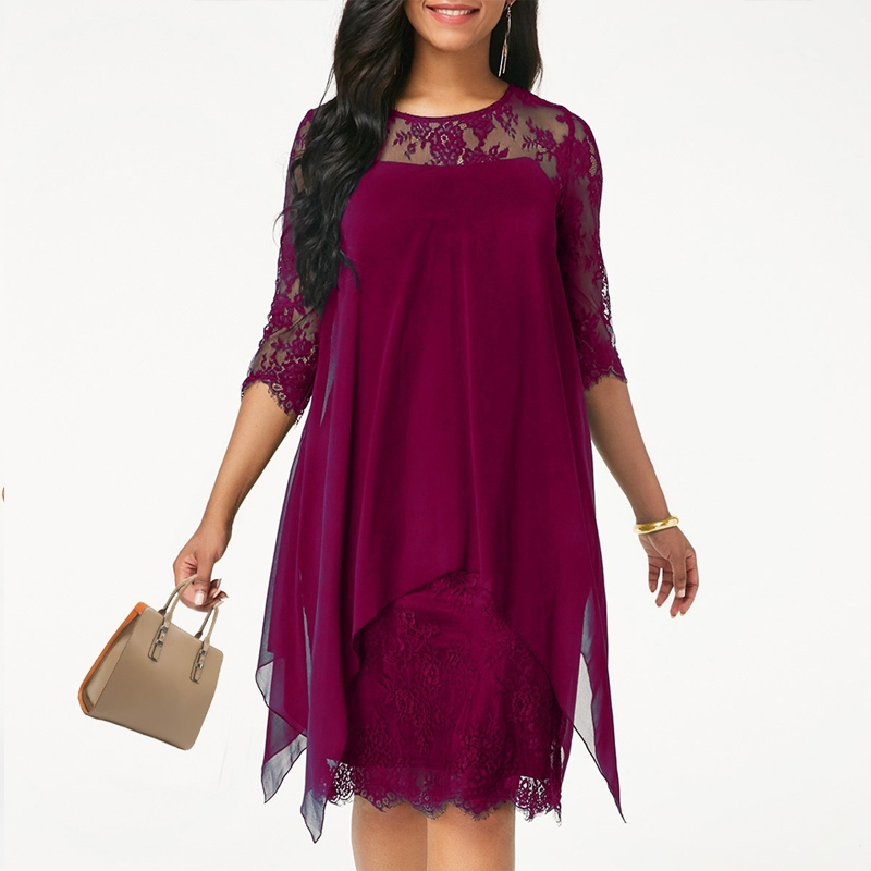 2020 Newest Women's Fashion Casual Loose Half Sleeve Elegant dress Round Neck Solid Color Big Size Lace dress 15 colors 2XS-5XL(China)