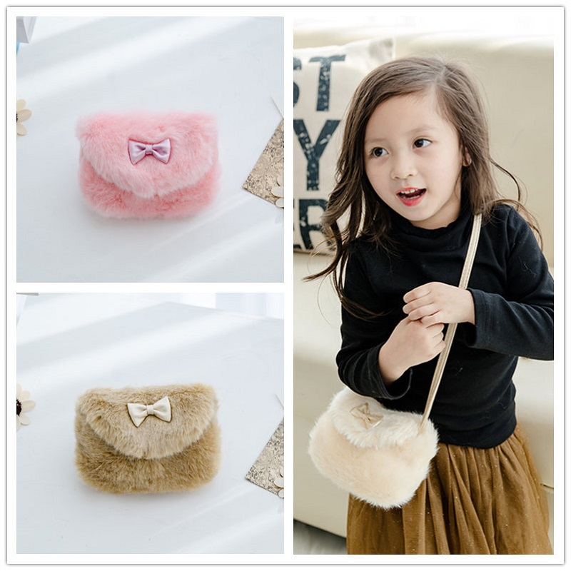 Faux fur plush Child coin purses wallets mini shoulder crossbody messengers bags female small pouch for kindergarten baby girls
