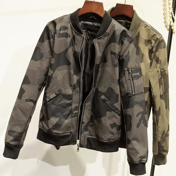new women Camouflage Motorcycle   leather   pu coat baseball uniform jacket