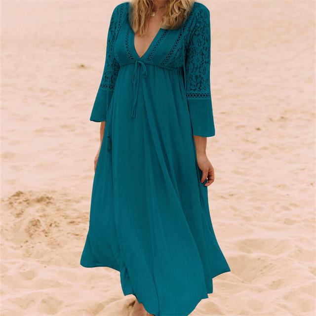Boho Deep V Neck Hollow Out Long Dress Women Plus Size Summer Beach Tunic White Cotton Sexy A Line Long Dress Vestidos #N274