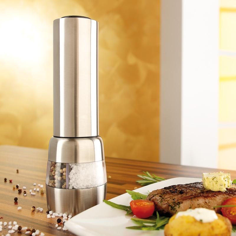 Ausdrucksvoll Pfeffer Grinder Voll-automatische Edelstahl Elektrische Pfeffermühle Pfeffermühle Aromatischer Geschmack
