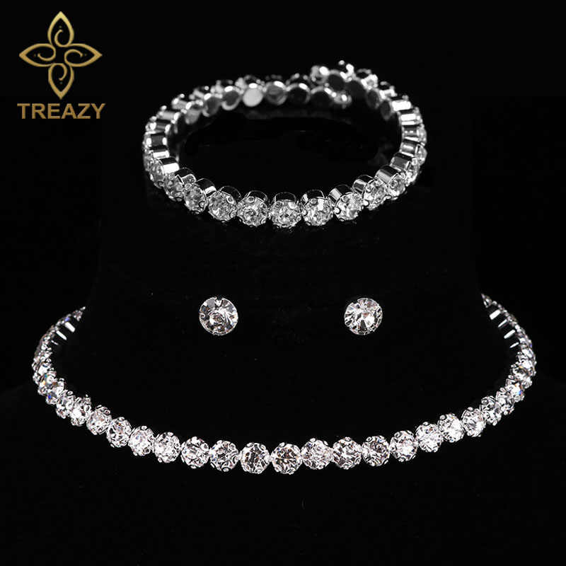 TREAZY Circle Crystal Bridal Jewelry Sets Silver Color African Beads Rhinestone Wedding Necklace Earrings Bracelet Set For Women
