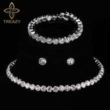 Bridal-Jewelry-Sets Earrings Wedding-Necklace Crystal Rhinestone African Beads Silver-Color