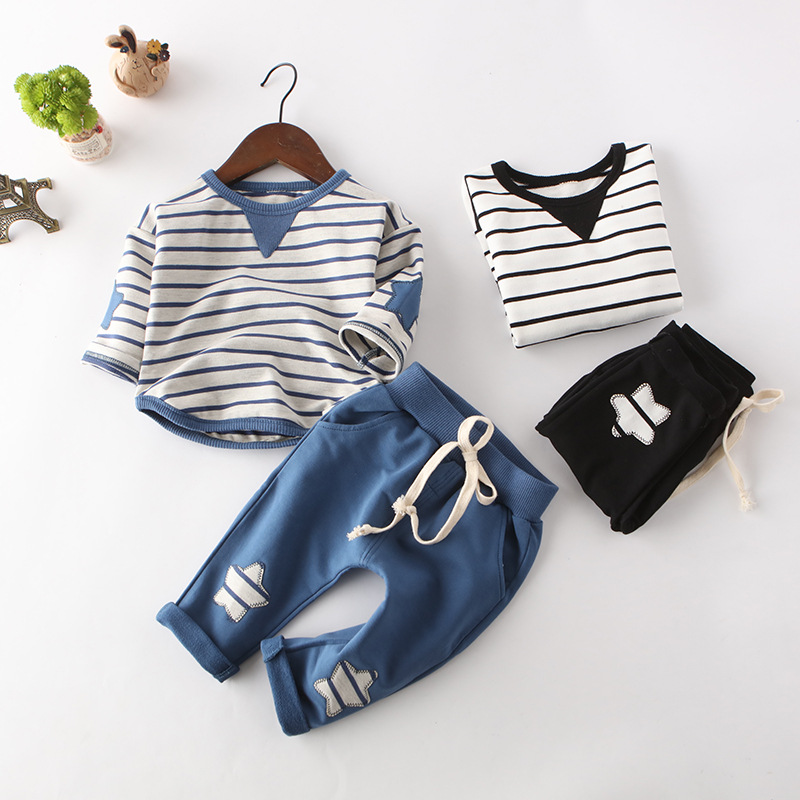 2pcs Newborn Infant Baby Boy Girl Clothes Long Sleeve Cotton Striped Outfits Toddler Kids Clothing Set newborn baby boy girl 5 pcs clothing set cotton cartoon monk tops pants bib hats infant clothes 0 3 months hight quality