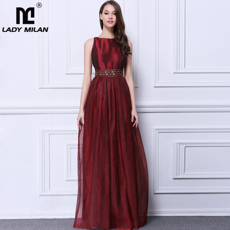 Lady Milan Womens O Neck Sleeveless Sequined A Line Fashion Long Party Dresses Floor Length Casual Summer Dresses ...