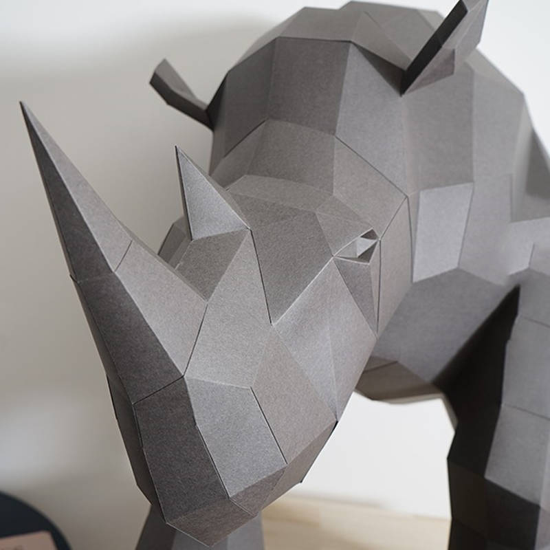 Imported From Abroad Paper Rhinoceros Model Toys Diy Material Manual Creative Party Show Props Lovely Tide Decorate Image Toys For Handmade Gift