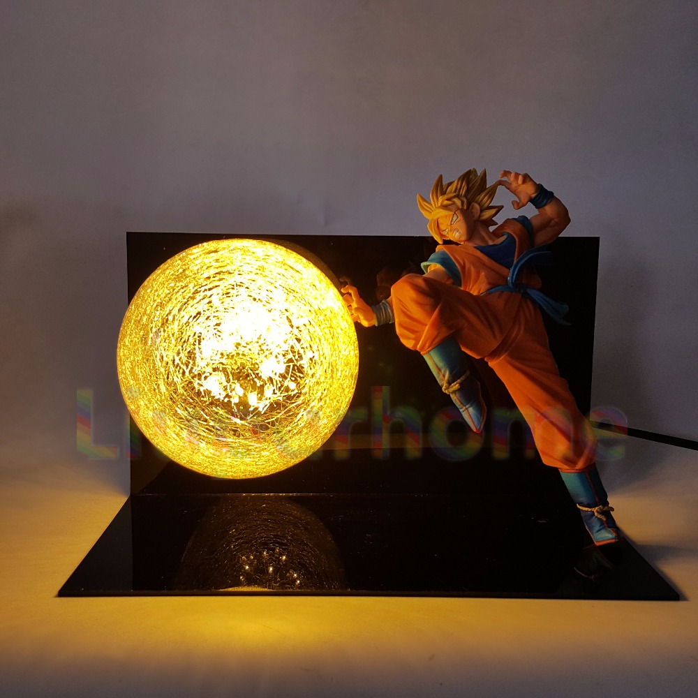 цена Dragon Ball Z Goku Super Saiyan FES Led Lighting Lamp Anime Dragon Ball Z DBZ Son Goku God Led Night Lights Luces Navidad