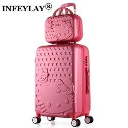 2 unids/set hermosa 14 bolsa de Hola Kitty 20/22/24/28 pulgadas estudiantes carro caso de equipaje de viaje mujer maleta de ruedas