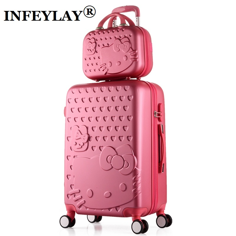 2PCS/SET Lovely 14inch Cosmetic bag hello Kitty 20 24 inches girl students trolley case Travel luggage woman rolling suitcase wenjie brothernew 2pcs set shinning 14inch 20inch cosmetic bag men and women trolley case travel luggage woman rolling suitcase
