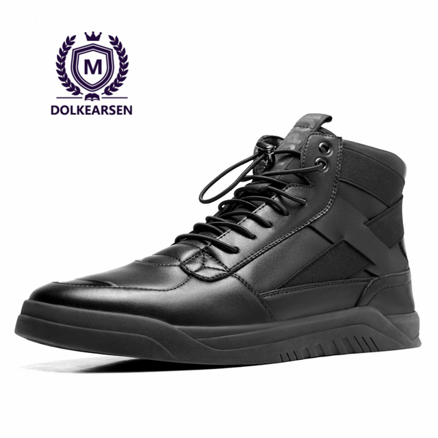 6d8f92eb2cf DOLKEARSEN Autumn New High Top Sneakers Men Exclusive Designer Real Leather  Plate Shoes Fashion Breathable Black Shoes D160531
