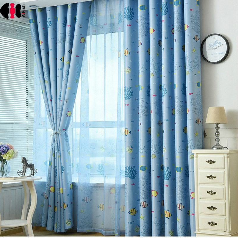 Cartoon Fish Sea Coral Print Curtain Mediterranean Kids