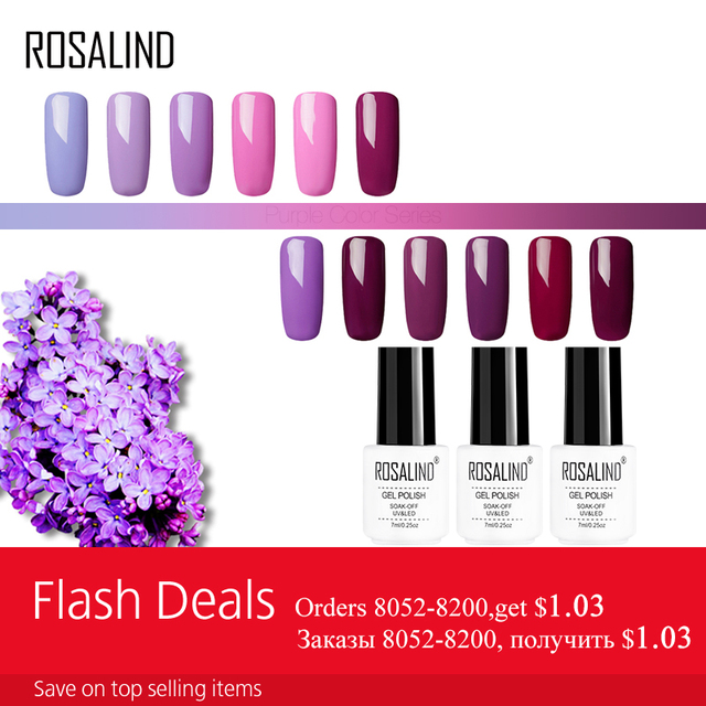 ROSALIND Gel 1 s 7 ml Gel vernis à ongles Violet Couleurs Soak Off UV LED Glitter Nail Art Semi Permanent gel laque amorce pour ongles