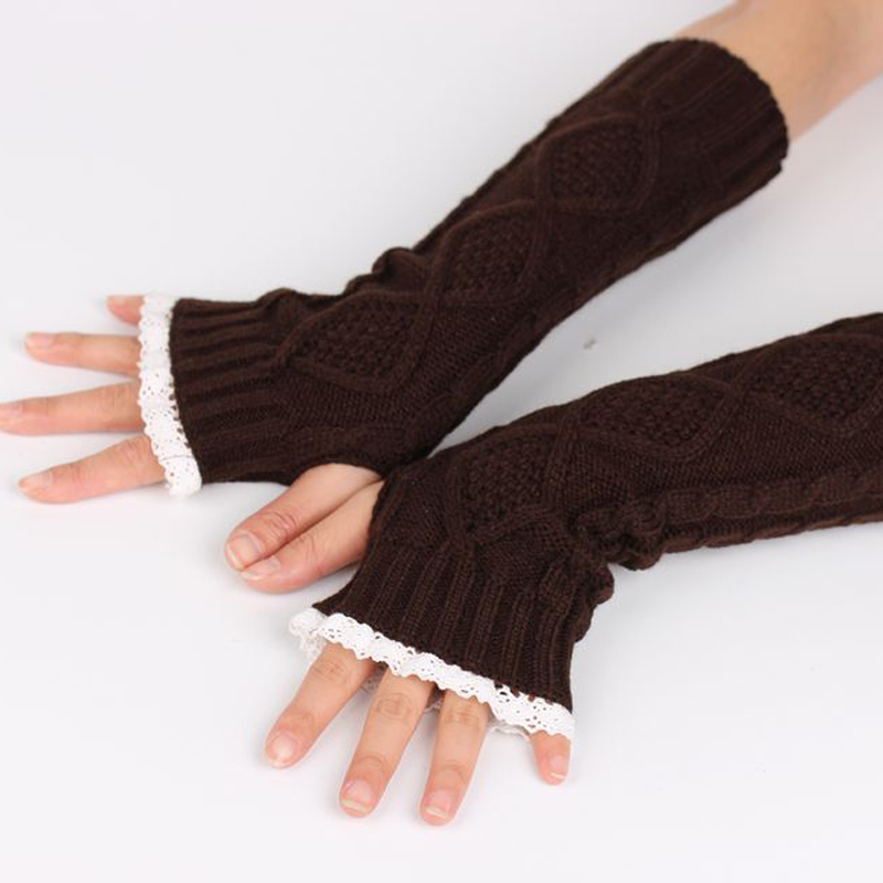 New Pure Color Hand Long Mitten Glove Women Knitted Wrist Elbow Glovers Lace Arm Fingerless Gloves Winter Unisex Soft Keep Warm