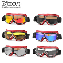 BJMOTO Foldable Riding leather Motorcycle Glasses For Shooting Airsoft Eye Protection dust-proof Windproof Motorbike Goggles