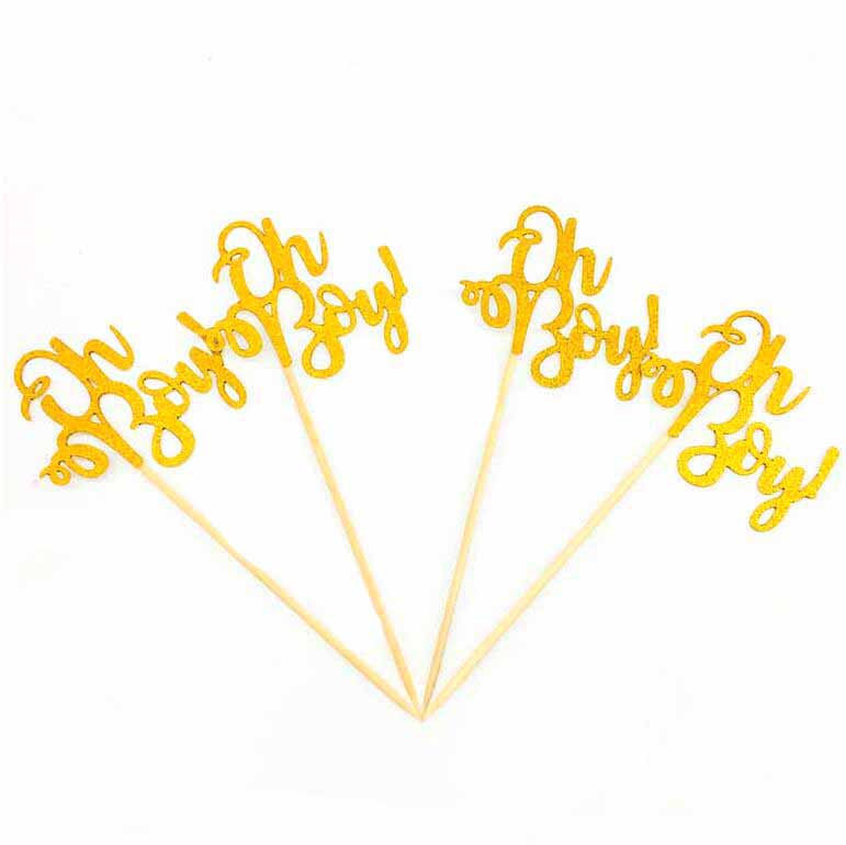 10pcs Gold Glitter Baby 1st Birthday Decor Oh Baby Cupcake Topper Oh Boy Baby Shower Wild One Gender Reveal Cake Decor in Cake Decorating Supplies from Home Garden