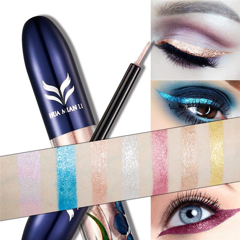HUAMIANLI Eyeliner 7 Color Glitter Liquid Eyeliner Makeup Metallic Shimmer Silver Gold Waterproof Eye Liner Shining Cosmetic Eye