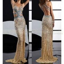 Großen Perlen Kristalle Prom Kleider Sparkly Pageant Kleid Bling Mermaid Sexy Cutaway Seiten Lange Formale Kleid Der 2017