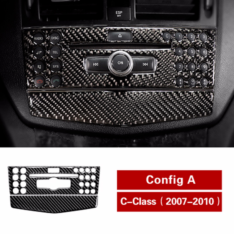 New Carbon fiber Refit Car Air conditioning CD Control Panel Decal Covers For mercedes C class W204 2007 2010 Interior Stickers