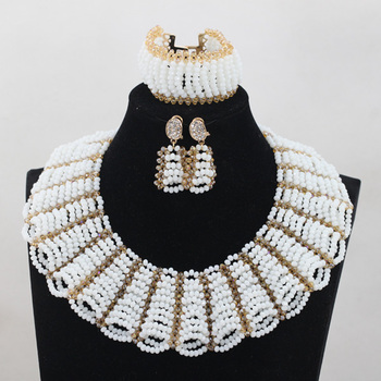 Wedding Chunky Crystal Beads Jewelry Set White and Gold Costume African Jewellery Sets for Brides Free Shipping WD762