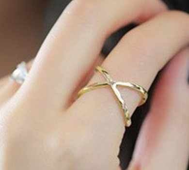 Ring female x three-dimensional surround cutout cross joint jumper rings for women jewelry
